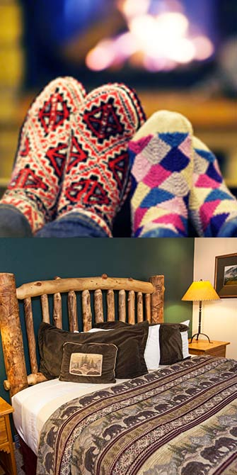 socks and fireplace at Rams Horn Village Resort